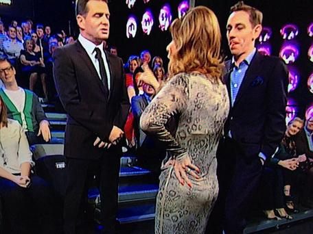 Linda Martin and Billy McGuinness of Aslan have a stand-up row on the Late Late Show during the Eurovision sing-off.