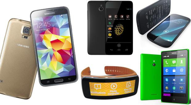 Clockwise from left: Samsung Galaxy S5, Blackphone, Yotaphone 2, Nokia XL, Samsung Gear Fit