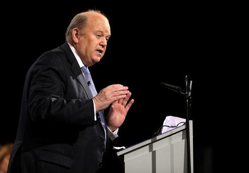 Minisetr Michael Noonan at the Fine Gael Ard Fheis in the RDS. Picture; GERRY MOONEY. 1/3/14
