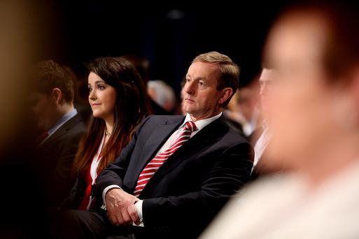 Taoiseach Enda Kenny pictured with Katie Quirke at the Fine Gael Ard Fheis in the RDS. Picture; GERRY MOONEY. 1/3/14