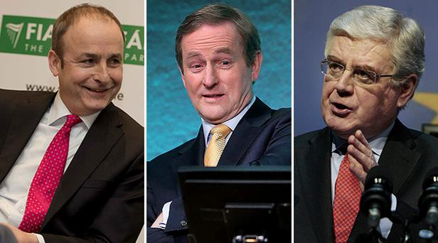 Fianna Fáil leader Micheál Martin (left), Taoiseach Enda Kenny (centre) and Tanaiste Eamon Gilmore (right)