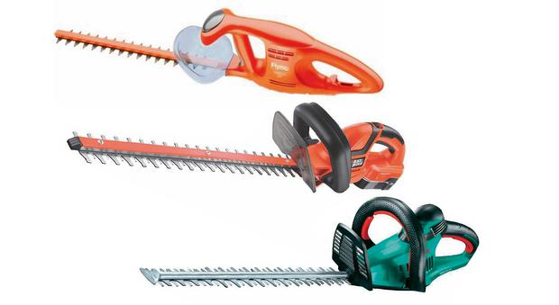 From top: Flymo EasiCut 450; Black & Decker GTC1850N; Bosch AHS 50-26