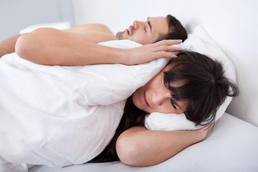 Snoring: picture posed
