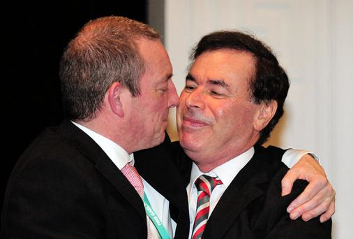 BROTHERS IN ARMS: Jerry Buttimer and Alan Shatter at the Fine Gael Ard Fheis. Photo: Barbara Lindberg