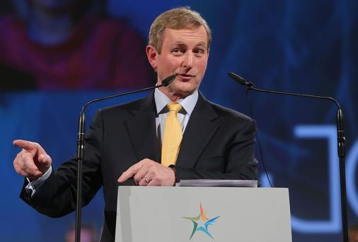Taoiseach Enda Kenny speaking at the Fine Gael ard fheis at the RDS in Dublin on Friday