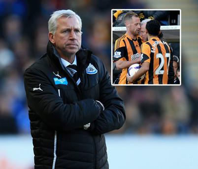 Alan Pardew appeared to headbutt Hull City midfielder David Meyler