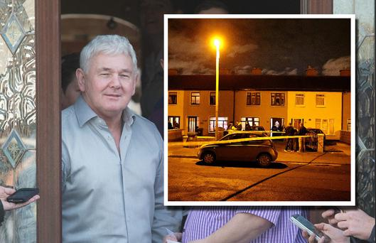 John Gilligan and the scene in Greenfort crescent where John Gilligan was shot (inset).