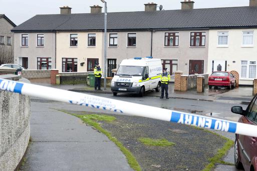 The scene at Greenfort Crescent where John Gilligan was shot at his brother's house shortly after 7pm on Saturday evening.