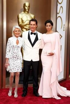 "Matthew McConaughey, best actor nominee for his role in ""Dallas Buyers Club"", and his wife Camila Alves McConaughey and mother Mary Kathleen McCabe"