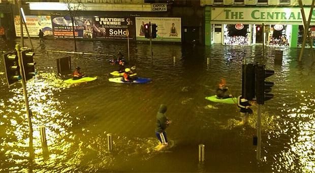 Floodwater on the Grand Parade in Cork City last month. Photo: Padraig O Donoghue