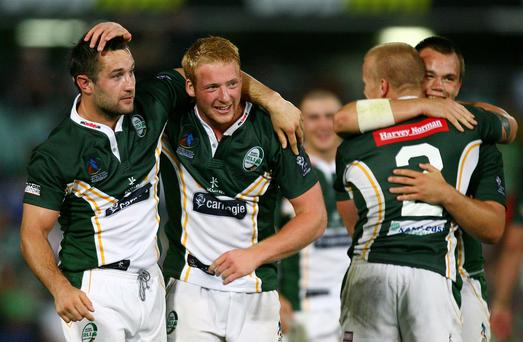 Sean Gleeson (second from left) celebrates after winning the 2008 Rugby League World Cup Pool 3 match between Ireland and Samoa.