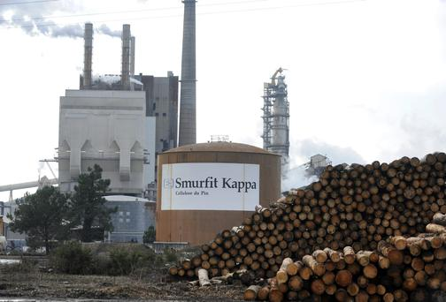 The main plant of timber mill Smurfit Kappa group at the Facture site in Biganos, southwestern France - the company dropped 2.6pc.