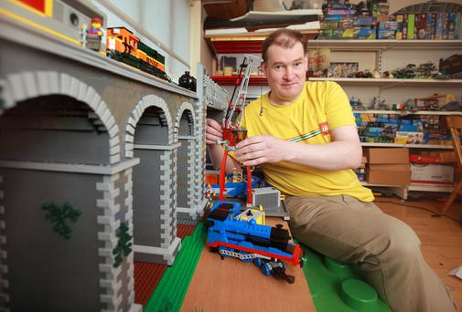 Around the block: James Shields with his Drogheda viaduct creation. Photo: Ronan Lang