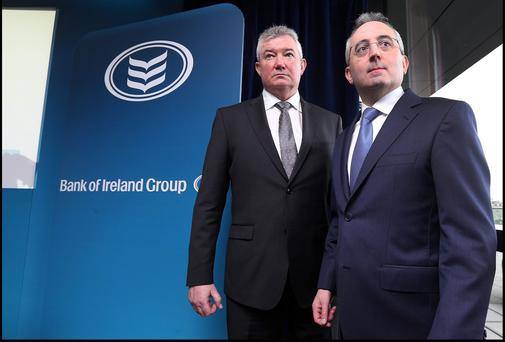 Bank of Ireland Group Richie Boucher Group Chief Executive and Andrew Keating (right) Group Chief Financial Officer. Picture: Steve Humphreys