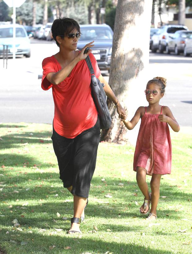 LOS ANGELES, CA - JULY 23: Actress Halle Berry and her daughter Nahla Ariela Aubry as seen on July 23, 2013 in Los Angeles, California. (Photo by SMXRF/Star Max/FilmMagic)