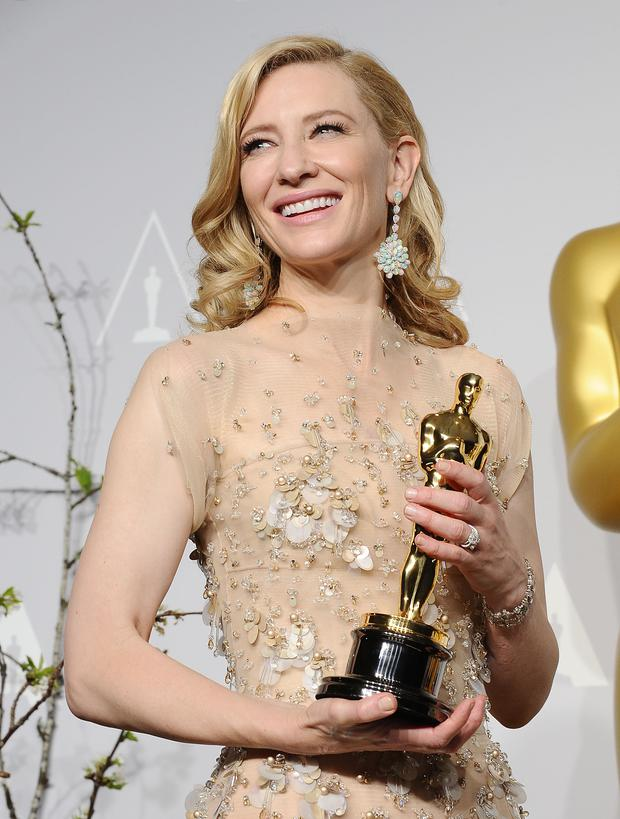 Actress Cate Blanchett poses in the press room at the 86th annual Academy Awards at Dolby Theatre on March 2, 2014 in Hollywood, California. (Photo by Jason LaVeris/WireImage)