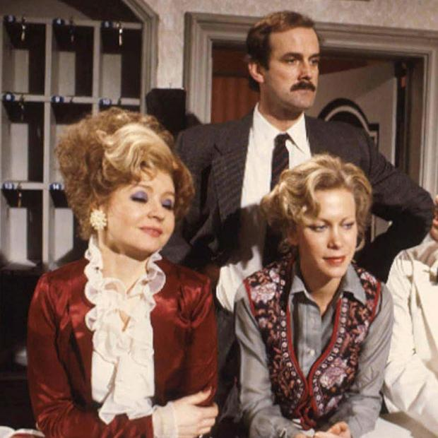 BBC handout photo of the cast of Fawlty Towers, (L-R ) Prunella Scales as Sybil, John Cleese as Basil, Connie Booth as Polly