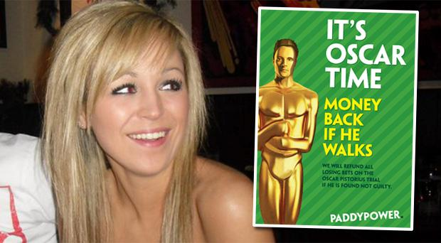 Murdered student Nicola Furlong. Inset: The Paddy Power promotional poster for betting on the Oscar Pistorius murder trial