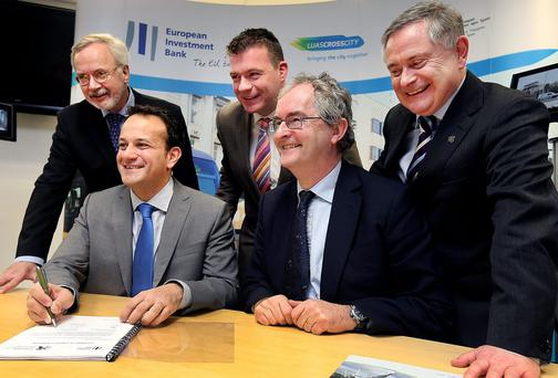 Minister for Transport, Tourism, Sport Leo Varadkar and Jonathan Taylor European Investment Bank Vice President of Ireland with Werner Hoyer President of the European Investment Bank, Minister of State for Commuter and Public Transport Alan Kelly Minister for Public Expenditure and Reform Brendan Howlin.
