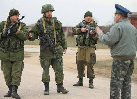 Colonel Yuli Mamchuk confronts Russian troops in Belbek airbase
