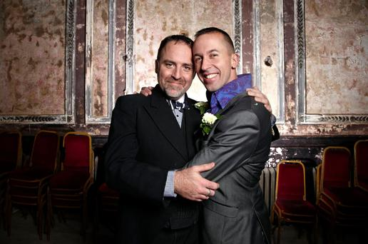 The grooms, Benjamin Till and Nathan Taylor, are writing and staging their entire wedding as a musical, with sung vows, sung readings and show-stopping ensembles featuring the whole congregation of family, friends and special guests. (Photo: Channel 4)