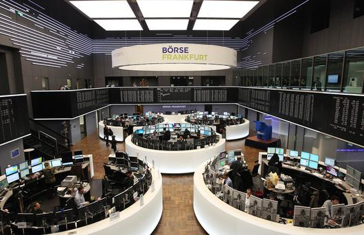 Growth: A display showing the German stock market index DAX is seen at the stock exchange in Frankfurt. Photo: Daniel Roland/AFP/Getty Images