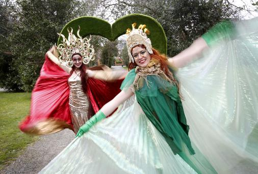 Performers Azaria Starfire (left) Bella A Gogo (right), pictured at the launch of the St Patrick's festival