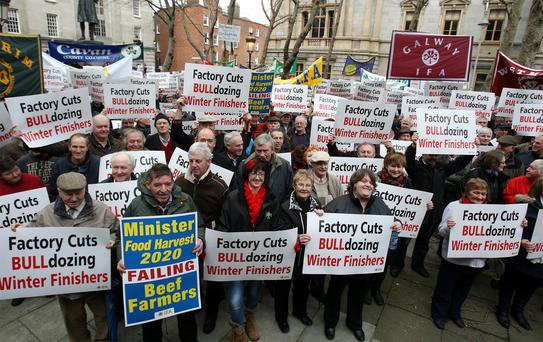 Farmers attending an IFA protest
