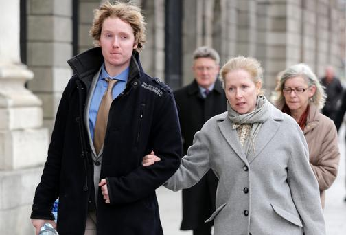 Neville Lucas leaving court with his mother Michelle. Picture: Courtpix