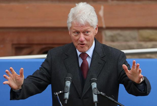 Former US President Bill Clinton makes a speech paying tribute to former SDLP leader John Hume at the Guildhall in Derry. PA
