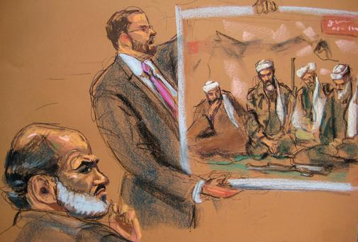 Suleiman Abu Ghaith (L), a son-in-law of Osama bin Laden, is shown in this courtroom sketch