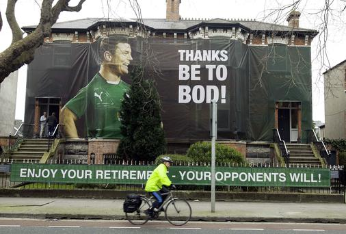 A Brian O' Driscoll poster on Northumberland Road, Dublin. Photo: Gareth Chaney Collins