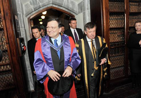 EU Commission President Jose Manuel Barroso ignored anti-austerity protests to pay tribute to Ireland's economic sacrifices since 2008. Mr Barroso was in University College Cork (UCC) yesterday amid tight security to accept an honorary doctorate. Picture: Daragh Mc Sweeney/Provision