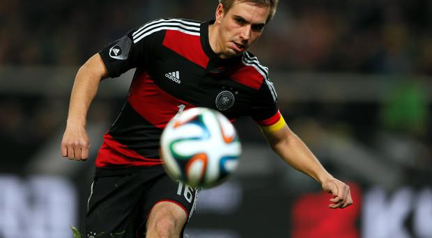 Germanys Philipp Lahm in action during the international soccer friendly match against Chile.