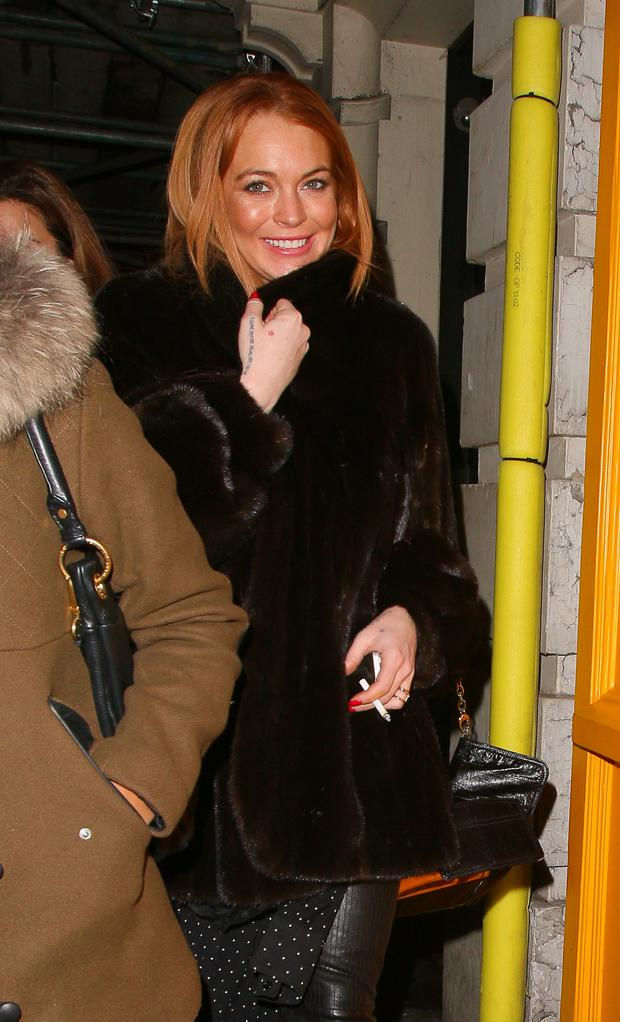 Lindsay Lohan sighting at Bodega Negra restaurant on January 18, 2014 in London, England. (Photo by Mark Robert Milan/FilmMagic)