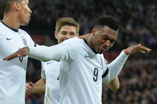 England striker Daniel Sturridge celebrates scoring the only goal of the game last night.