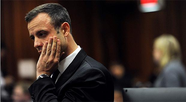 Oscar Pistorius during the fourth day of his trial for the murder of his girlfriend Reeva Steenkamp