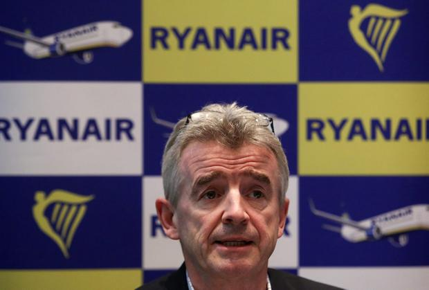 Michael O'Leary, chief executive officer of Ryanair Holdings Plc, speaks during a news conference in London, U.K., on Thursday, Nov. 21, 2013. The Irish carrier announced today that it would be adding more destinations from Manchester Airports Group's London Stansted airport in 2014. Photographer: Chris Ratcliffe/Bloomberg *** Local Caption *** Michael O'Leary