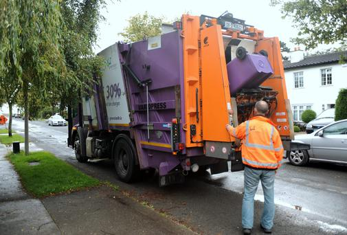 Greenstar bin truck making collections in Shankill, Dublin. Picture: Caroline Quinn