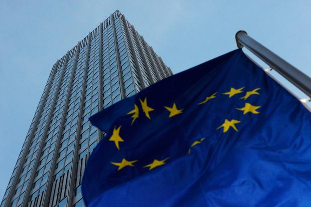 A European Union flag flies outside the headquarters of the European Central Bank (ECB) in Frankfurt, Germany. Photographer: Ralph Orlowski/Bloomberg