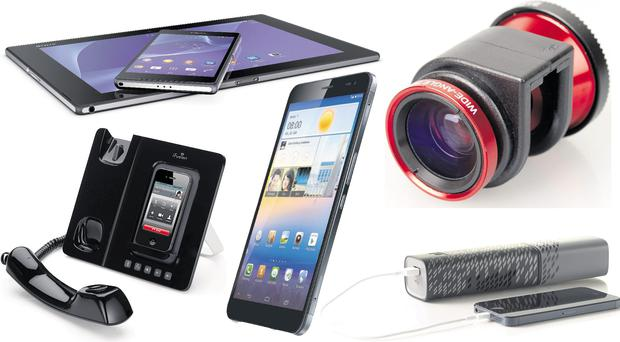 Clockwise from top left: Sony Xperia Z2 Tablet 2; Olloclip 4-in-1 lens; the Upp Hydrogen Charger; the Huawei MediaPad X1 and the Altigen iFusion SmartStation