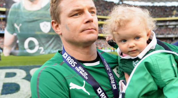 Brian O'Driscoll of Ireland waves farewell to the fans after his last home appearance the RBS Six Nations match between Ireland and Italy
