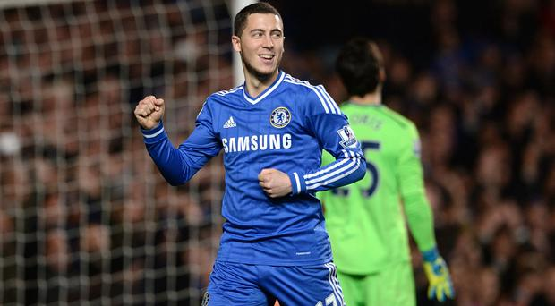 Chelsea's Eden Hazard celebrates scoring their second goal of the game from the penalty spot