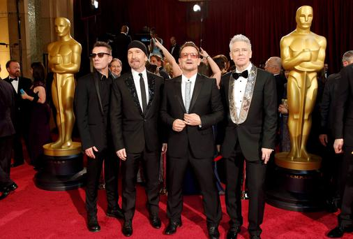 U2 at the 2014 Academy Awards in LA. Photo: Michael Buckner