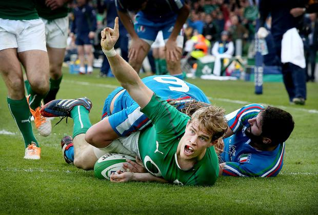 Andrew Trimble goes over for Ireland's second try just before half-time at the Aviva Stadium