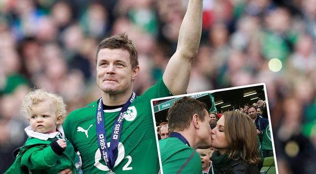 Brian O'Driscoll on the pitch with his daughter, Sadie, and (inset) with his wife Amy Huberman
