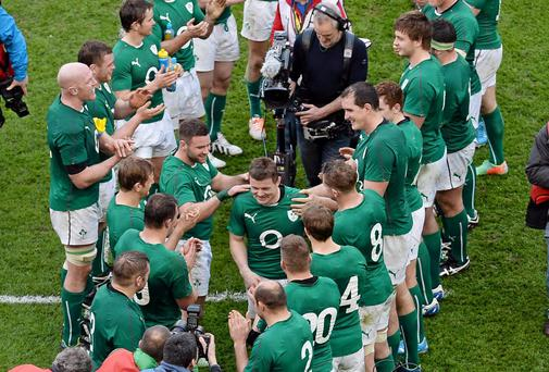 Brian O'Driscoll is congratulated by teammates after the game