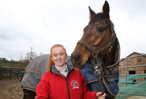 Jockey Jane Mangan with Oscar Delta at Conna Stud in Co Cork. The pair will race in the Foxhunter Chase at the 2014 Cheltenham Festival. Pictue: Frank McGrath
