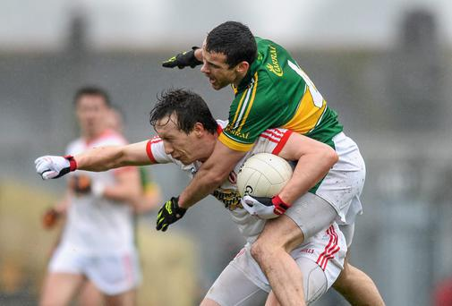 Colm Cavanagh, Tyrone, in action against Shane Enright, Kerry