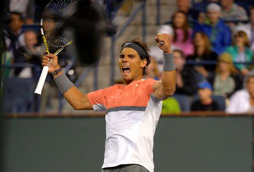 Rafael Nadal celebrates after defeating Radek Stepanek at the BNP Paribas Open tennis tournament.
